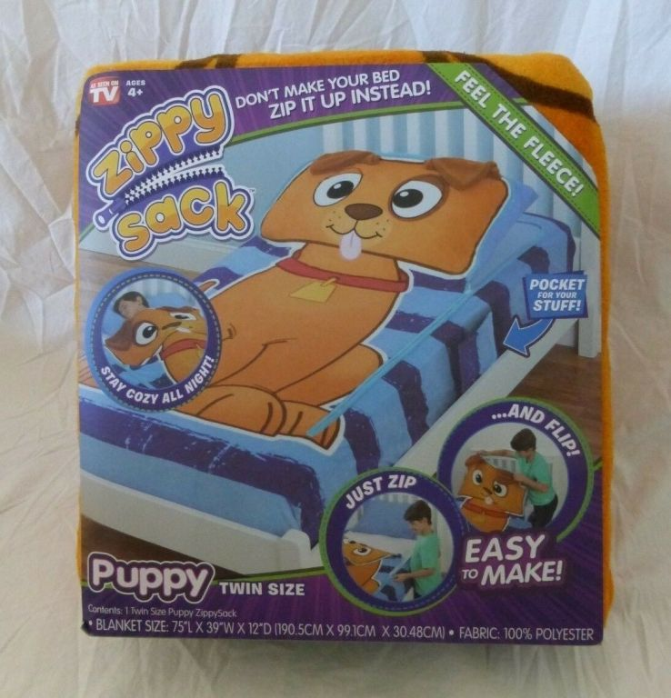 39873 - Zippy Sack Puppy & Dino Fleece Twin Size Blanket USA