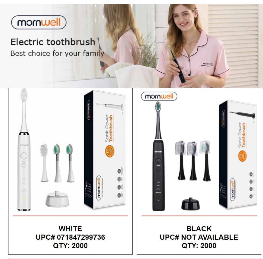 39949 - Mornwell IPX7 Waterproof, Power Rechargeable, Sonic Electric Toothbrush USA